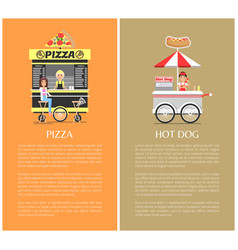 Pizza and hot dog mobile shops vector