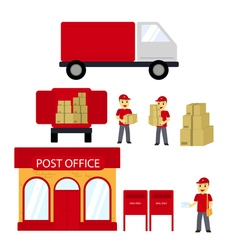 Post office boxes postmanDelivery truck Delivery vector