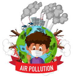 Poster design for stop pollution with boy wearing vector