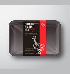 premium quality goose meat package and label vector image