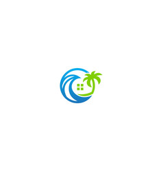 resort beach house logo vector image