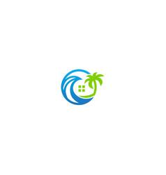 Resort beach house logo vector
