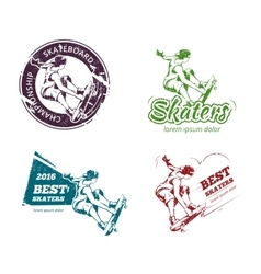 Retro color skateboarding labels logos and vector