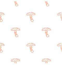 Seamless pattern of fly agarics symmetrical vector