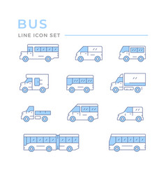 Set color line icons bus and van vector