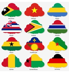 Set flags of world sovereign states in form clouds vector