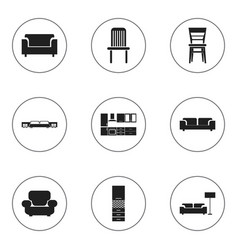 set of 9 editable interior icons includes symbols vector image