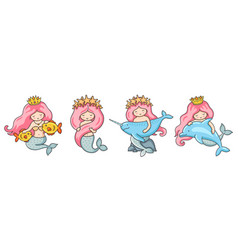 Set of beautiful little mermaids with pink hair vector