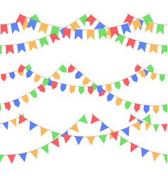 Set of garland with celebration flags chain red vector