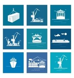 Set of Marine Cargo Icons vector