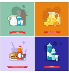 set of soft drinks flat design vector image