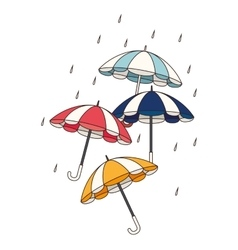 Set umbrellas protection isolated icon vector