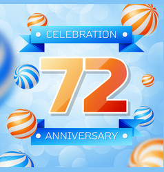 Seventy two years anniversary celebration design vector