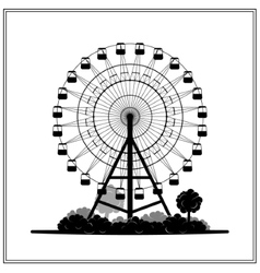 Silhouette of a ferris wheel in the park vector