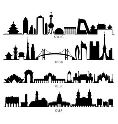 Skyline silhouette with city landmarks beijing vector