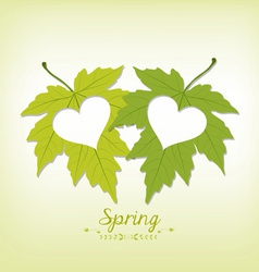 Spring leaves with hearts vector