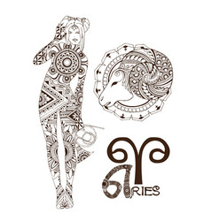 Stylized zodiac sign of aries vector