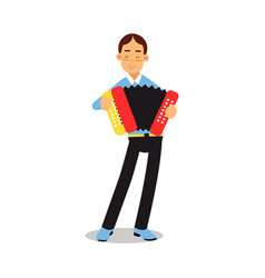 Teenage boy playing accordion during concert vector