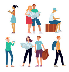 traveling people character concept flat set vector image