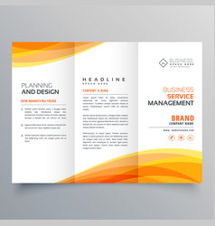 Trifold brochure template with orange wave shapes vector