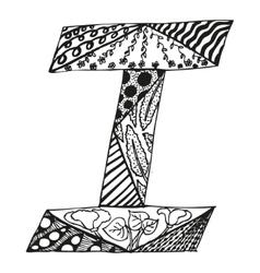 Vintage monogram i doodle alphabet character vector