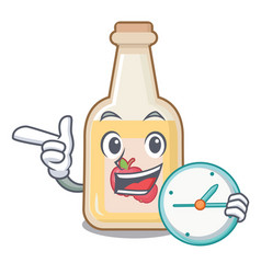 With clock apple cider isolated with mascot vector