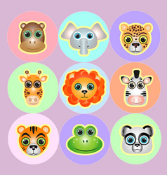 Zoo animals faces icon set vector