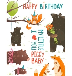 Birthday with Forest Animals Mothers and Babies vector image vector image