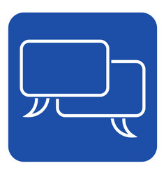 blue white sign two outline speech bubbles icon vector image