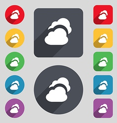 Cloud icon sign A set of 12 colored buttons and a vector image