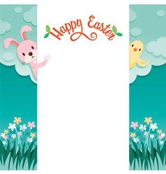 Happy Easter Lettering And Animal On Frame vector image vector image