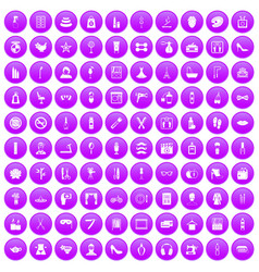 100 beauty and makeup icons set purple vector image