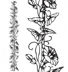 antique floral border engraving vector image vector image