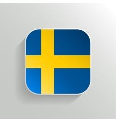 Button - Sweden Flag Icon vector image