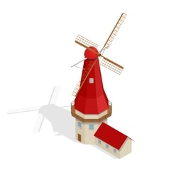 Dutch mill at night Starry sky Holland vector image vector image