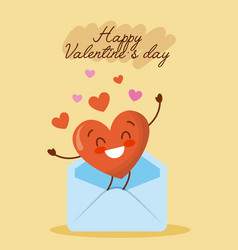happy valentines day message envelope with love vector image