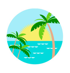 palm trees against the setting sun in the water vector image vector image