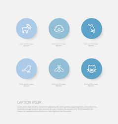 set of 6 editable zoology icons includes symbols vector image