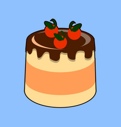small delicious cream cake with chocolate glaze vector image