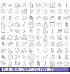 100 building element icons set outline style vector image vector image