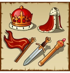Attributes of Royal authority and power king set vector image