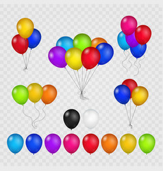 colored balloons on transparent background vector image