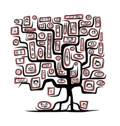 Family tree sketch with people portraits for your vector image vector image