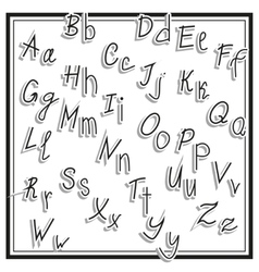 Hand cut alphabet sticker set white color school vector image vector image