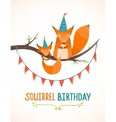Little Squirrel and Mother Birthday Greeting Card vector image