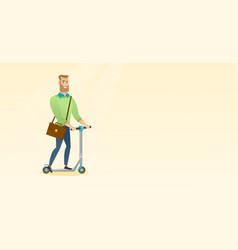 Man riding kick scooter vector