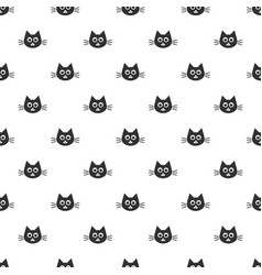 pattern with cute black cat heads vector image vector image
