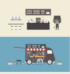 471coffee shop and mobile coffee vector image