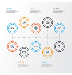 auto outline icons set collection of automobile vector image
