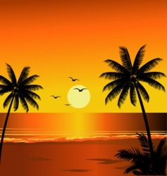 beach sunset vector image vector image